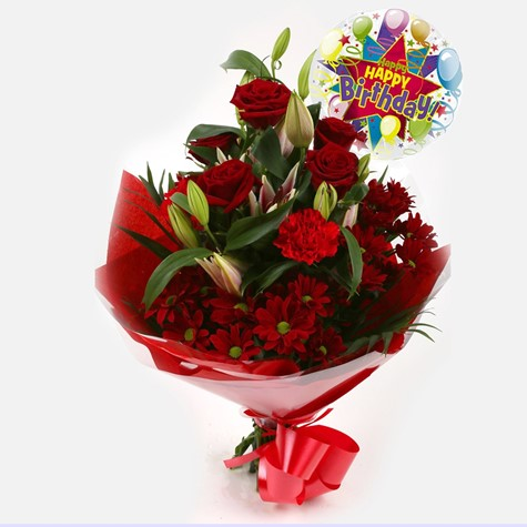 Birthday Balloon & Red Roses Lilly Bouquet
