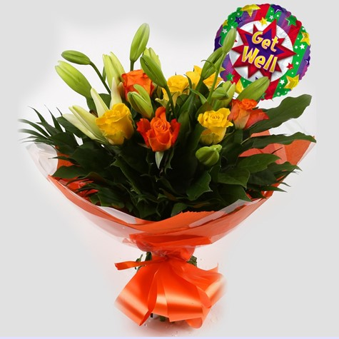 Get Well Balloon & Aztec Yellow Bouquet - Clear Savings-Clear  Prices