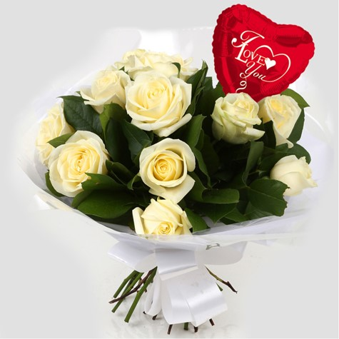 Love You Balloon & 12 White Roses Bouquet-FREE DELIVERY
