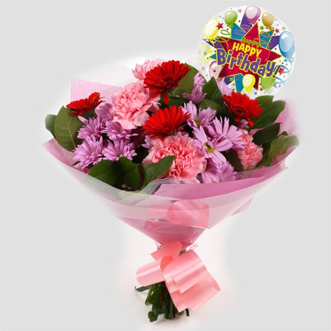 Birthday Balloon & Pink Mystique Bouquet-FREE DELIVERY