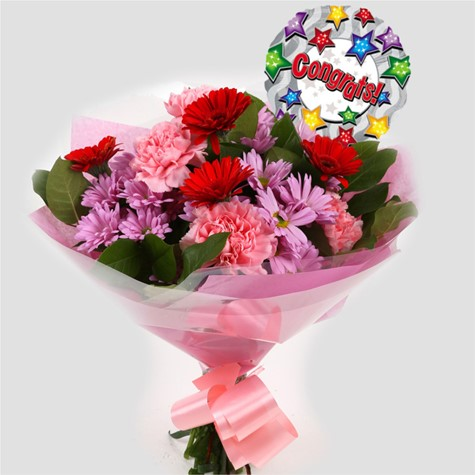 Congrats Balloon & Pink Mystique Bouquet-FREE DELIVERY