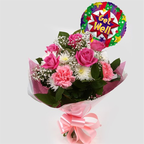 Get Well Balloon & Strawberry Pink Blush  Bouquet -Clear Savings-Clear Prices-FREE DELIVERY