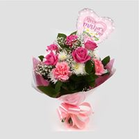Bouquets Mothers Day Balloon & Strawberry Pink Blush -Clear Savings-Clear Prices-Compare The Quaility