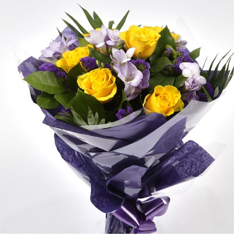 Pretty Scented Roses and Freesias Bouquet-FREE DELIVERY