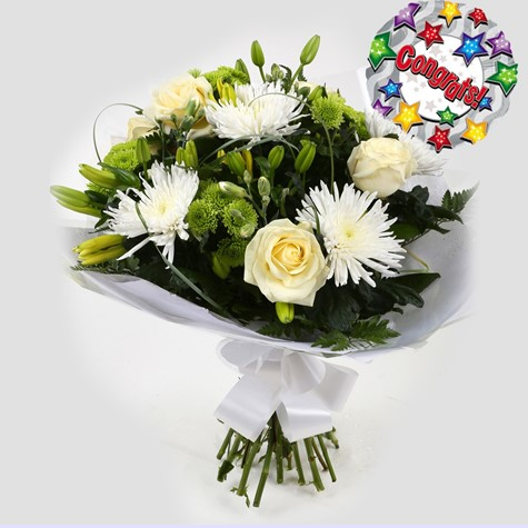 Congrats Balloon & Golden Cream Bouquet-FREE DELIVERY