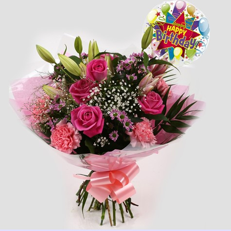 Birthday Balloon & Pink Crystal Bouquet-