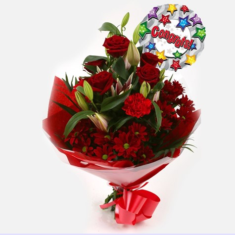 Congrats Balloon & Red Roses Lilly Bouquet-FREE DELIVERY