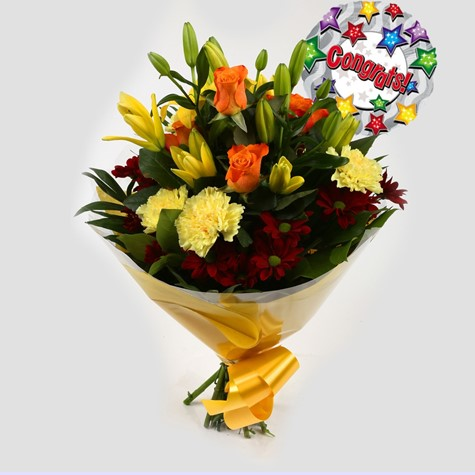 Congrats Balloon & Red Sunshine Bouquet-FREE DELIVERY