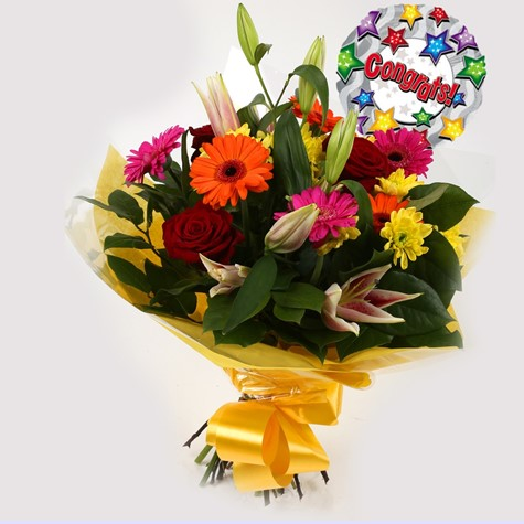 Congrats Balloon & Jubilation Bouquet-FREE DELIVERY