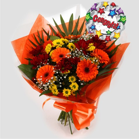 Congrats Balloon & Red Fall Bouquet-FREE DELIVERY