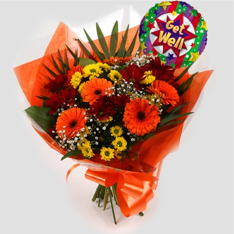 Get Well Balloon & Red Fall Bouquet -Clear Savings