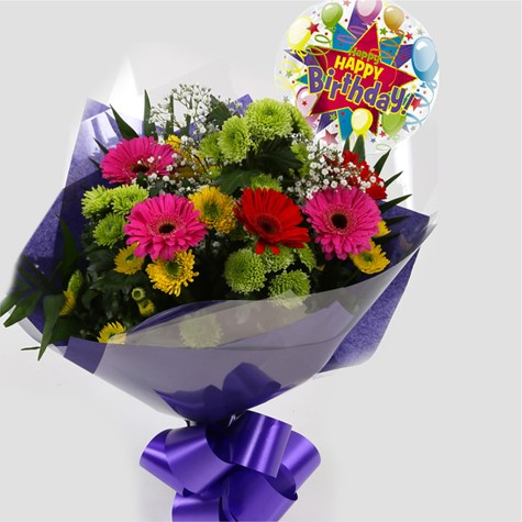Birthday Balloon & Elegance Bouquet-FREE DELIVERY