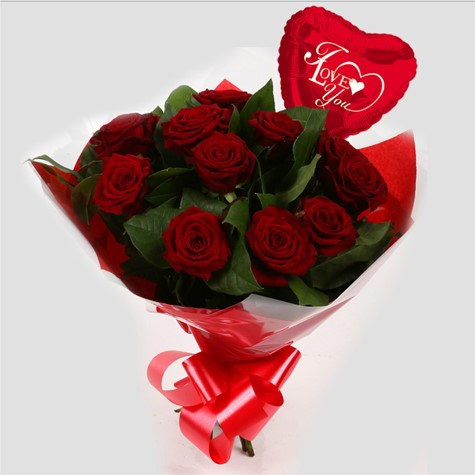 Love You Balloon & 12 Red Roses Bouquet-FREE DELIVERY