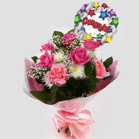 Congrats Balloon & Strawberry Pink Blush Bouquet -Clear Savings-Clear Prices-FREE DELIVERY
