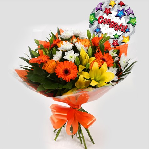 Congrats Balloon & Orange Burst Bouquet