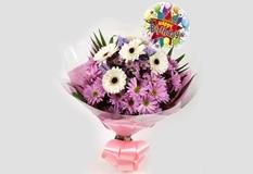 Birthday Balloon & Pink Santini Bouquet - FREE DELIVERY