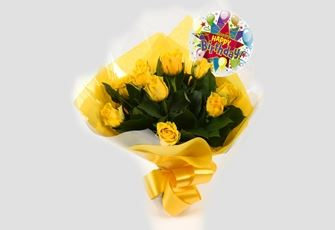 Birthday Balloon & 12 Yellow Roses Bouquet - FREE DELIVERY