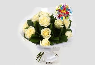 Birthday Balloon & 12 White Roses Bouquet - FREE DELIVERY