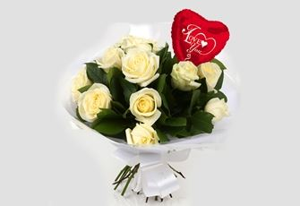 Love You Balloon & 12 White Roses Bouquet - FREE DELIVERY