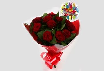 Birthday Balloon & 12 Red Roses Bouquet - FREE DELIVERY