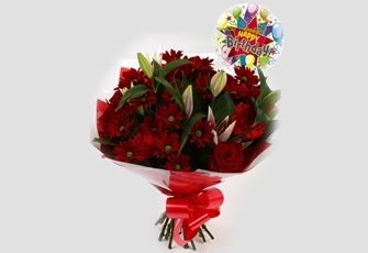 Birthday Balloon & Red Rapture Bouquet - FREE DELIVERY