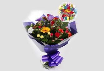 Birthday Balloon & Fragrant Star Bouquet - FREE DELIVERY