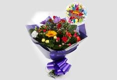 Birthday Balloon & Fragrant Star Bouquet-FREE DELIVERY
