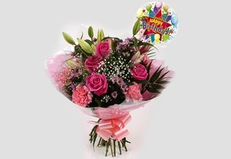 Birthday Balloon & Pink Crystal Bouquet - FREE DELIVERY