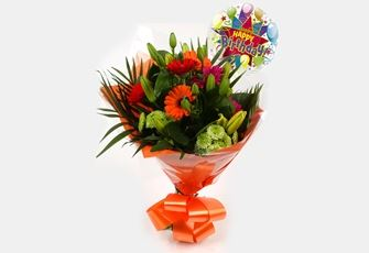 Birthday Balloon & Vibrant Star Bouquet - FREE DELIVERY