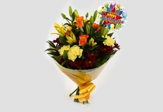 Happy Birthday Balloon & Redsunshine Bouquet - FREE DELIVERY