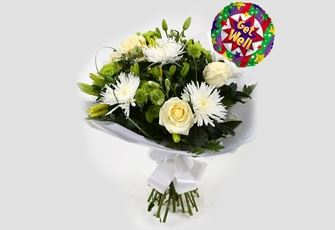 Get Well Balloon & Golden Cream Bouquet - FREE DELIVERY
