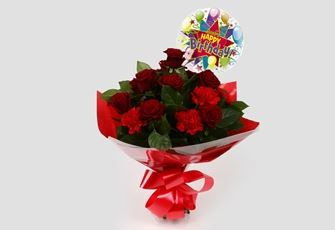 Birthday Balloon & Heart Special Bouquet - FREE DELIVERY