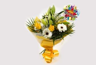 Birthday Balloon & Lemon White Bouquet - FREE DELIVERY