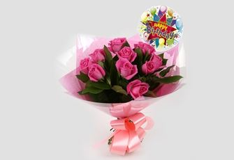 Birthday Balloon & 12 Pink Roses Bouquet - FREE DELIVERY