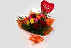 Love You Balloon & Roses Galore Bouquet - FREE DELIVERY