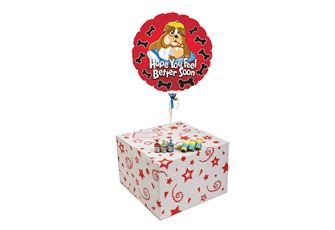 FEEL BETTER SOON BULLDOG-GIFT BOXED-FREE PARTY POPPERS & BLOW HORNS