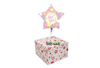 ITS A GIRL STAR-GIFT BOXED-FREE PARTY POPPERS & BLOW HORNS