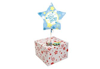 ITS A BOY STAR-GIFT BOXED-FREE PARTY POPPERS & BLOW HORNS