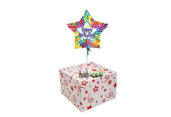 BIRTHDAY BRIGHT STARS-GIFT BOXED-FREE PARTY POPPERS & BLOW HORNS