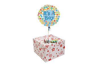 ITS A BOY DOTS-GIFT BOXED-COMES WITH FREE PART POPPERS & BLOW HORNS!