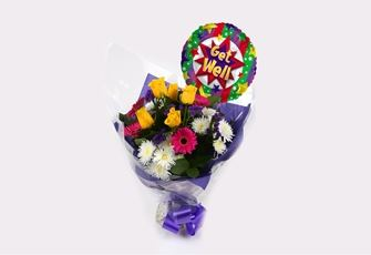 Get Well Balloon & Starburst Bouquet  - FREE DELIVERY-Clear Savings-Clear Prices-Compare The Quaility