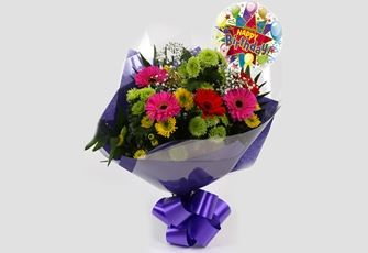 Birthday Balloon & Elegance Bouquet - FREE DELIVERY