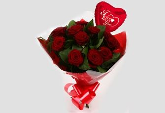 Love You Balloon & 12 Red Roses Bouquet - FREE DELIVERY