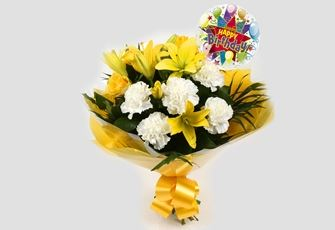Birthday Balloon & Golden Sunshine Bouquet - FREE DELIVERY