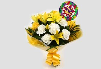 Get Well Balloon & Golden Sunshine Bouquet - FREE DELIVERY