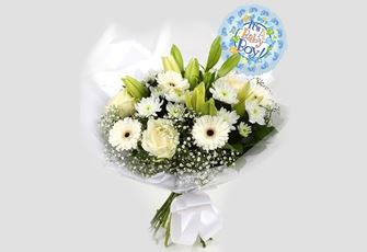 Its a Boy Balloon & White Petite Bouquet - FREE DELIVERY