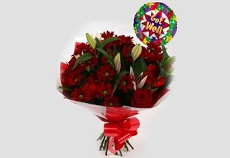 Get Well Balloon & Red Rapture Bouquet - FREE DELIVERY