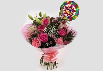 Get Well Balloon & Pink Crystal Bouquet - FREE DELIVERY
