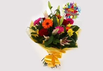 Birthday Balloon & Jubilation Bouquet - FREE DELIVERY