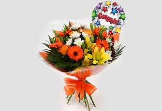 Congrats Balloon & Orange Burst Bouquet - FREE DELIVERY